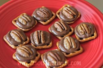 chocolate caramel pecan pretzel bites